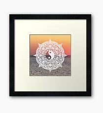 Sunset Yin Yang Mandala Framed Print