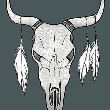 Decorated Bull Skull Mandala Pattern by julieerindesign