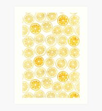 Yellow Watercolor Lemon Slices Pattern Art Print