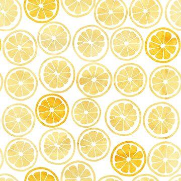 Gelbes Aquarell-Zitronen-Scheiben-Muster von hocapontas