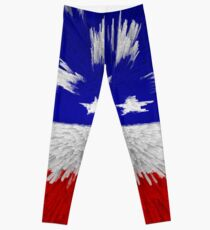 USA Red White Blue Proud American Leggings