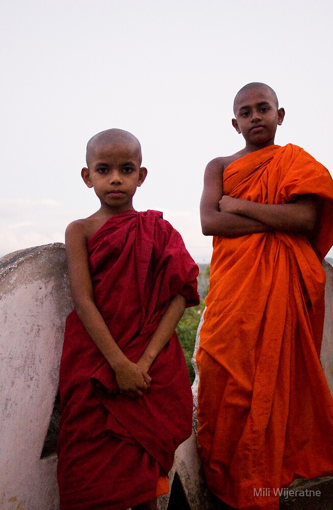 Two little monks by Mili Wijeratne