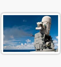 A Phalanx close-in weapons system is fired aboard USS Cowpens. Sticker