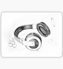 Drawing sketch of headphones Sticker