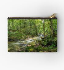 Mountain stream in green forest Studio Pouch
