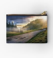 road near foggy forest in mountains Studio Pouch