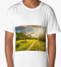 Winter in mountains meets spring in valley at sunset Long T-Shirt