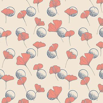 Delicate Ginkgo & Dots #redbubble #decor #buyart by designdn