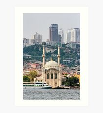 Ortakoy Mosque infront of the Istanbul panorama  Art Print