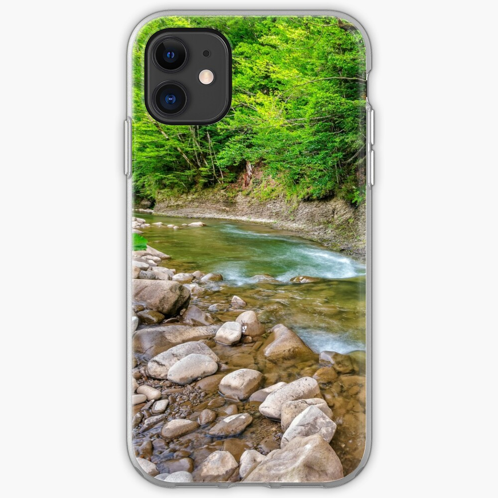river with stones on shores anmong the forest iPhone Soft Case