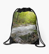 Mountain stream in green forest Drawstring Bag