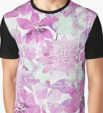 Soft Pink Pastel Watercolor Flower Pattern Graphic T-Shirt