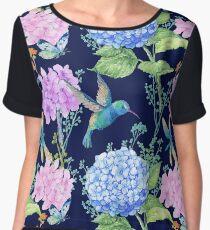 seamless pattern,watercolor flowers, butterflies and a little bird,Hummingbird,pattern for textile design,Wallpaper Women's Chiffon Top