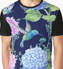seamless pattern,watercolor flowers, butterflies and a little bird,Hummingbird,pattern for textile design,Wallpaper Graphic T-Shirt