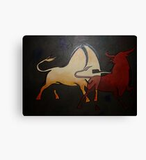 Two Bulls Fighting  Canvas Print
