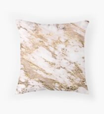 Golden smudge - blush marble Throw Pillow