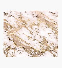 Golden smudge - blush marble Photographic Print