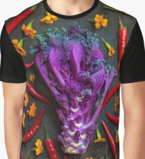 Still life with purple kale, thai peppers and geraniums Graphic T-Shirt