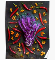 Still life with purple kale, thai peppers and geraniums Poster