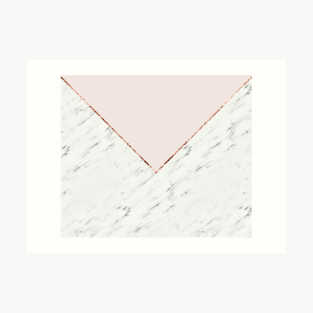 Pfingstrose errötet geometrischen Marmor Kunstdruck