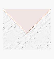 Peony blush geometric marble Photographic Print