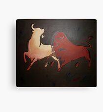 Two Fighting Bulls  Canvas Print