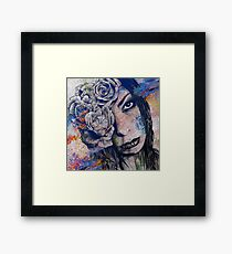 Of Blue Suffering (gothic lady with roses tattoo) Framed Print