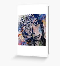 Of Blue Suffering (gothic lady with roses tattoo) Greeting Card