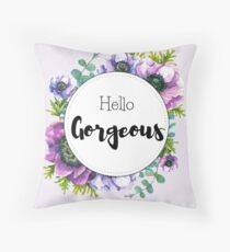 Hello Gorgeous - anemone flowers watercolor design Throw Pillow
