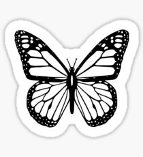 Butterfly, Black and White Butterfly. Sticker