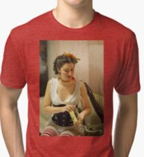 Dickens Fair Corset Model Tri-blend T-Shirt