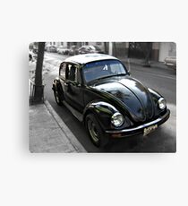 Black VW Bug  - Side View Canvas Print