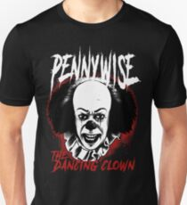 pennywise the dancing clown Classic Horror Movie Character Evil and Scary Metal Band Style Tee T-Shirt
