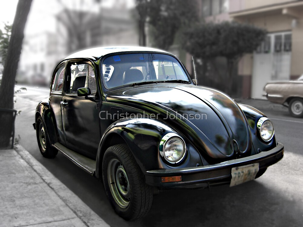 Black VW Bug  - Side View 2 by Christopher Johnson