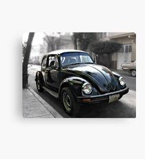 Black VW Bug  - Side View 2 Canvas Print