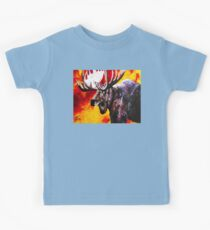 I'm No Bambi Bull Moose Powerful Majestic Wildlife Rack Point Cabin Elk Red Yellow Fire Power Strong Nature Hunting Hunt Sportsman Hunter Rocky Mountains Kids Tee