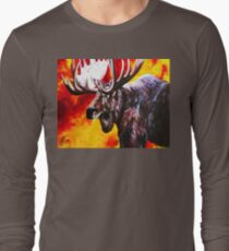 I'm No Bambi Bull Moose Powerful Majestic Wildlife Rack Point Cabin Elk Red Yellow Fire Power Strong Nature Hunting Hunt Sportsman Hunter Rocky Mountains Long Sleeve T-Shirt