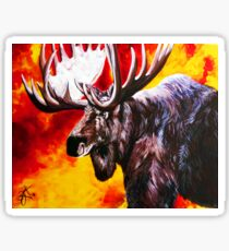 I'm No Bambi Bull Moose Powerful Majestic Wildlife Rack Point Cabin Elk Red Yellow Fire Power Strong Nature Hunting Hunt Sportsman Hunter Rocky Mountains Sticker