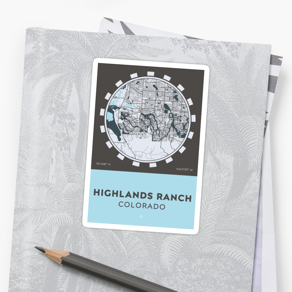 """Highlands Ranch CO"" Stickers By Postertown"