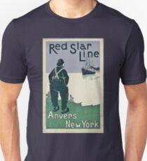 Vintage Red Star Line Cruise Ocean Line Travel New York T-Shirt