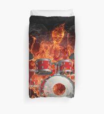 Fiery Skeleton Drummer Duvet Cover