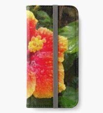 Hibiskus iPhone Flip-Case/Hülle/Klebefolie
