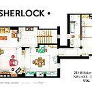 Floorplan of Sherlock Holmes apartment from BBCs by Iñaki Aliste Lizarralde