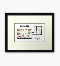 Floorplan of Sherlock Holmes apartment from BBCs Framed Print
