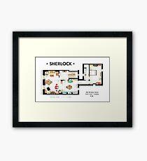 Floorplan of Sherlock Holmes apartment from BBCs Framed Print