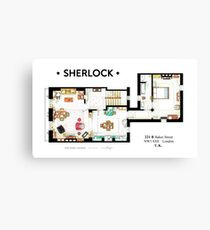Floorplan of Sherlock Holmes apartment from BBCs Canvas Print