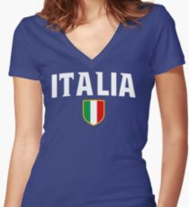 Italia Flag Emblem Women's Fitted V-Neck T-Shirt