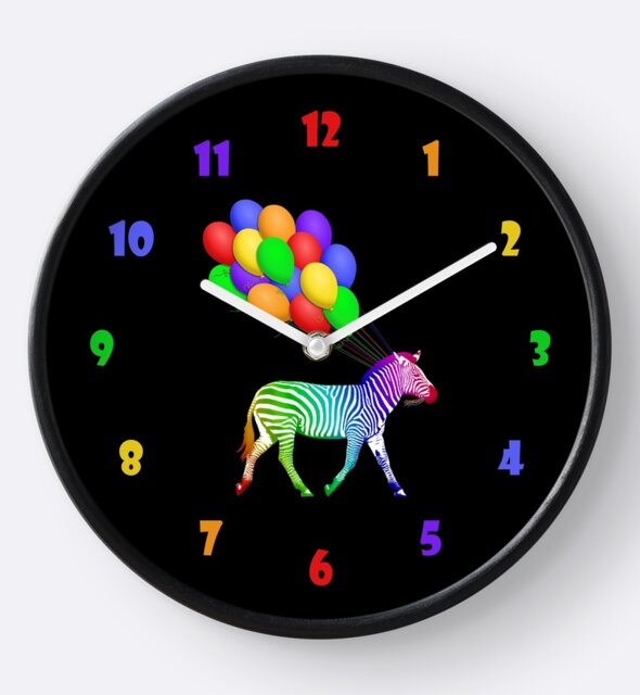 Studio Dalio - Rainbow Zebra with Balloons Clock