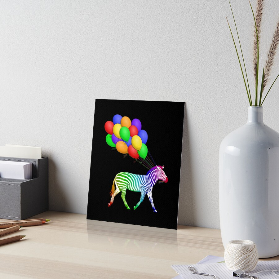 Studio Dalio - Rainbow Zebra with Party Balloons Art Board