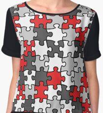 Puzzle Pattern Chiffon Top
